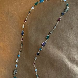 Kendra multi color stone long necklace